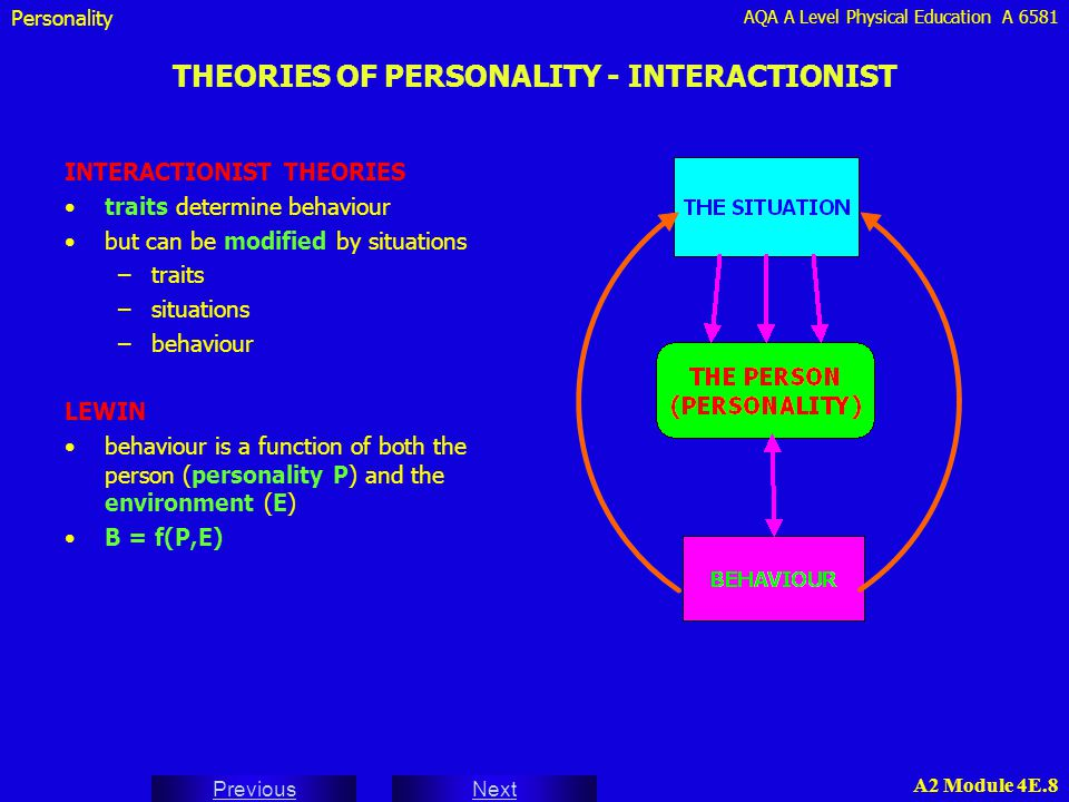 THEORIES OF PERSONALITY - INTERACTIONIST