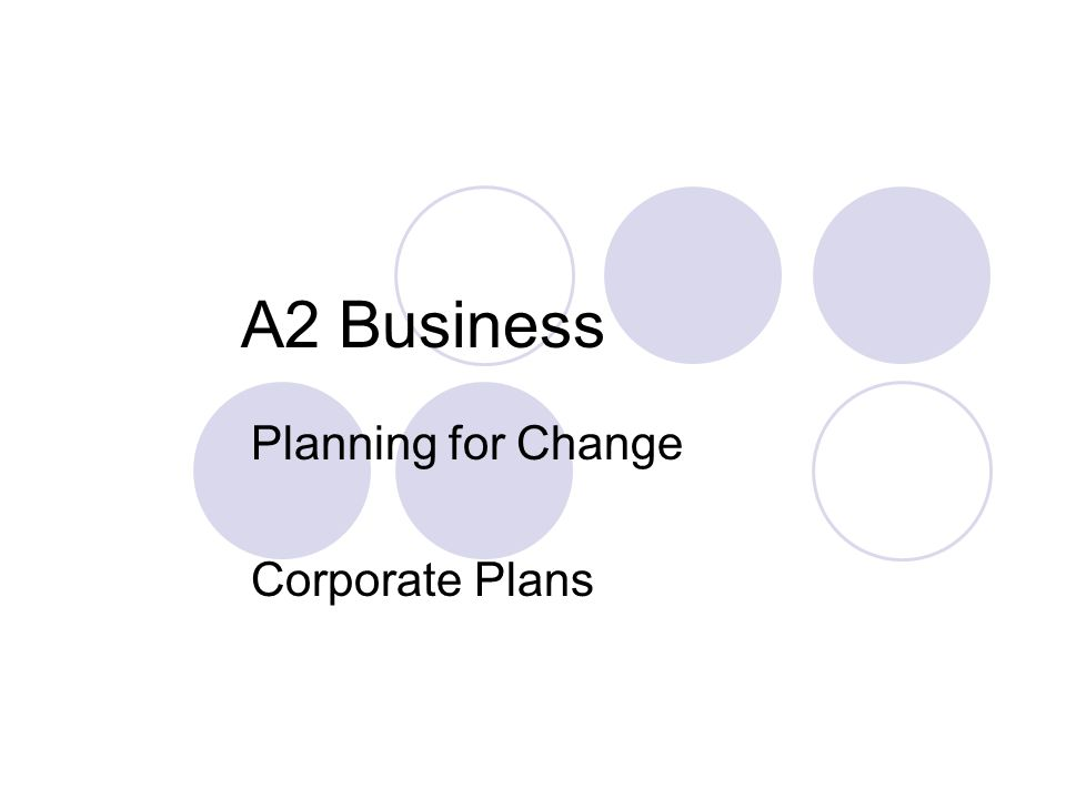 Planning for Change Corporate Plans