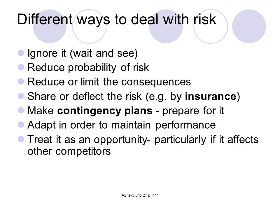 Different ways to deal with risk