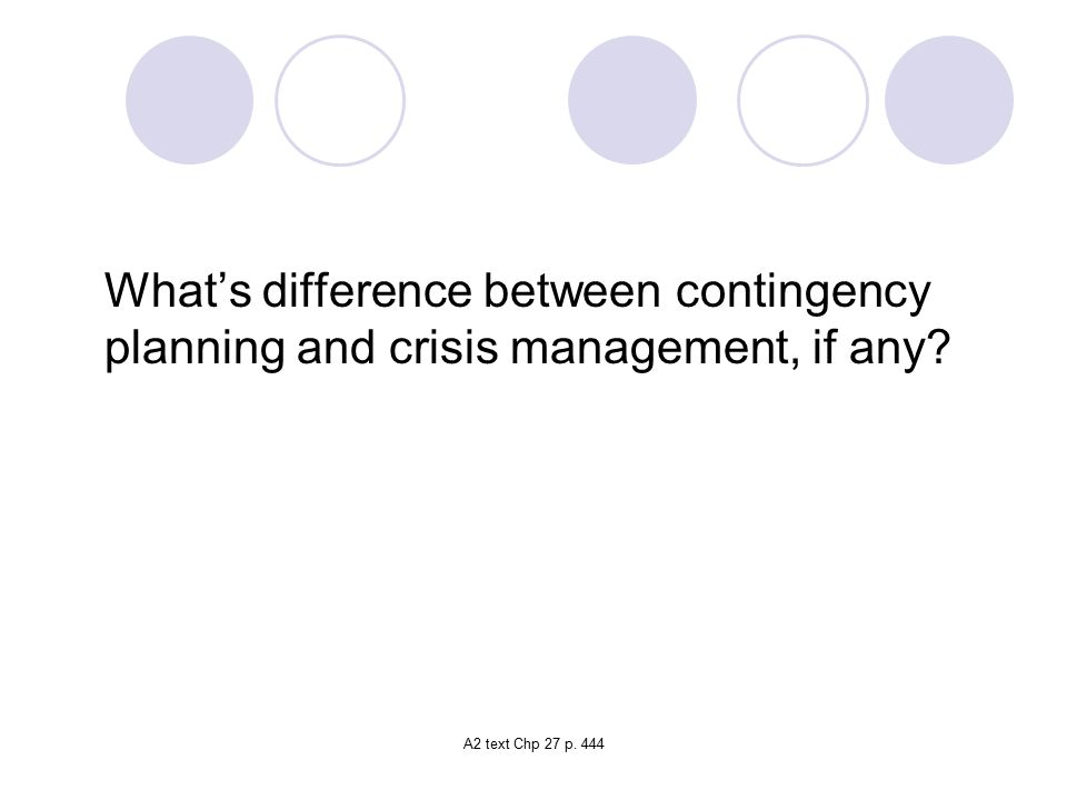 What's difference between contingency planning and crisis management, if any