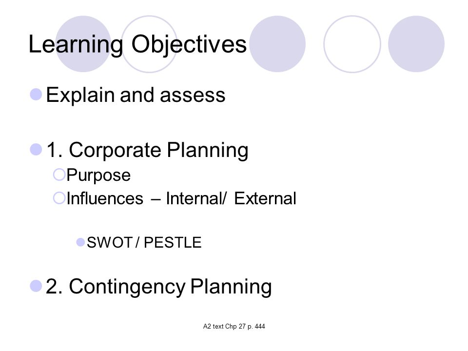 Learning Objectives Explain and assess 1. Corporate Planning