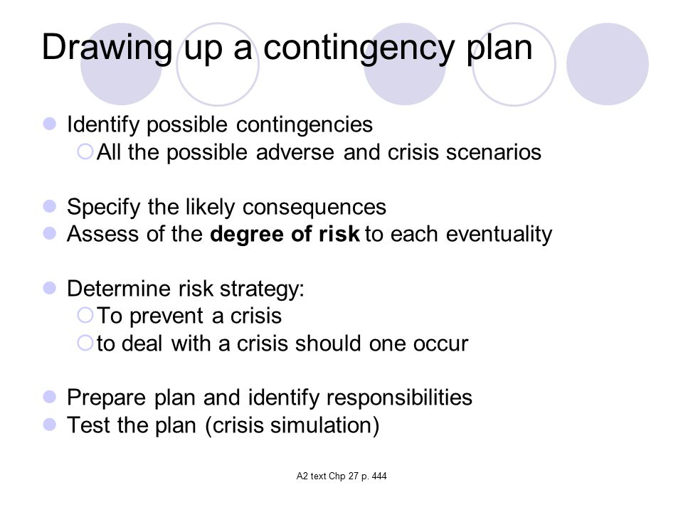 Drawing up a contingency plan