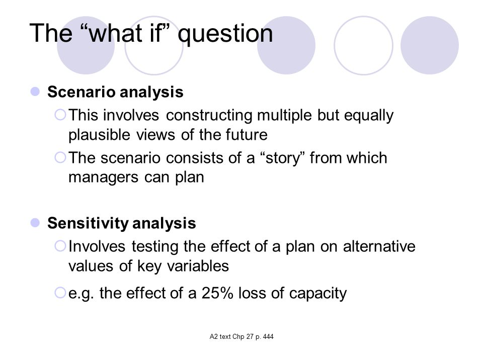 The what if question Scenario analysis