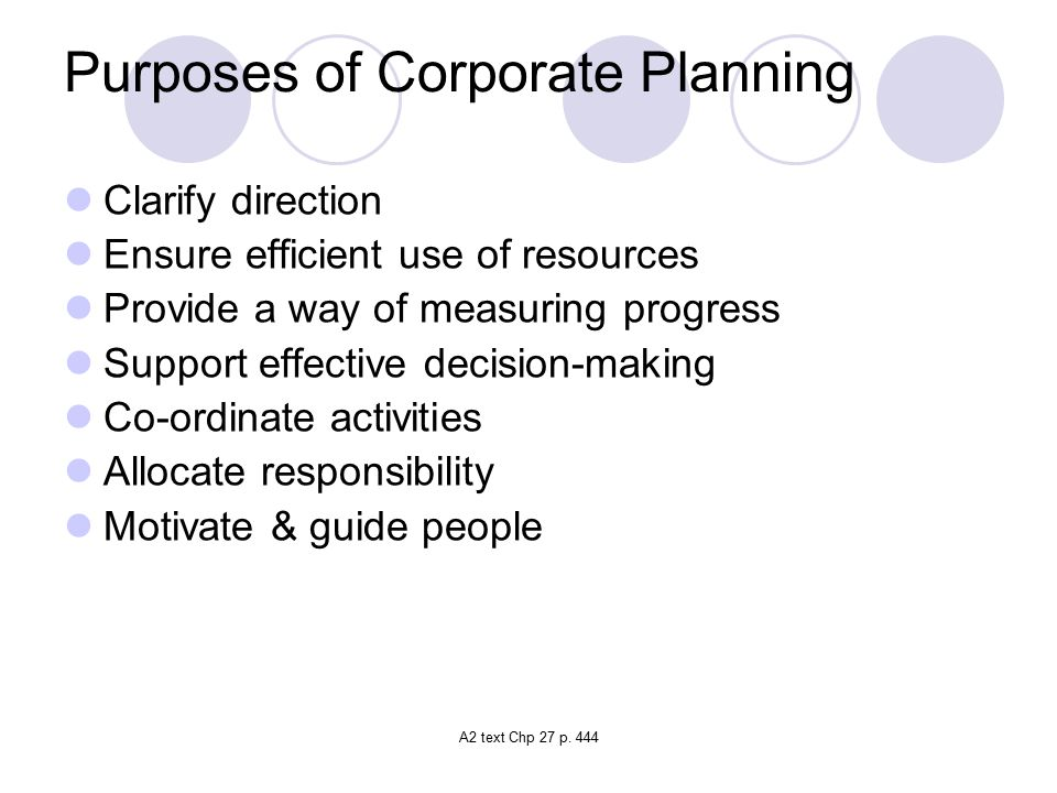 Purposes of Corporate Planning