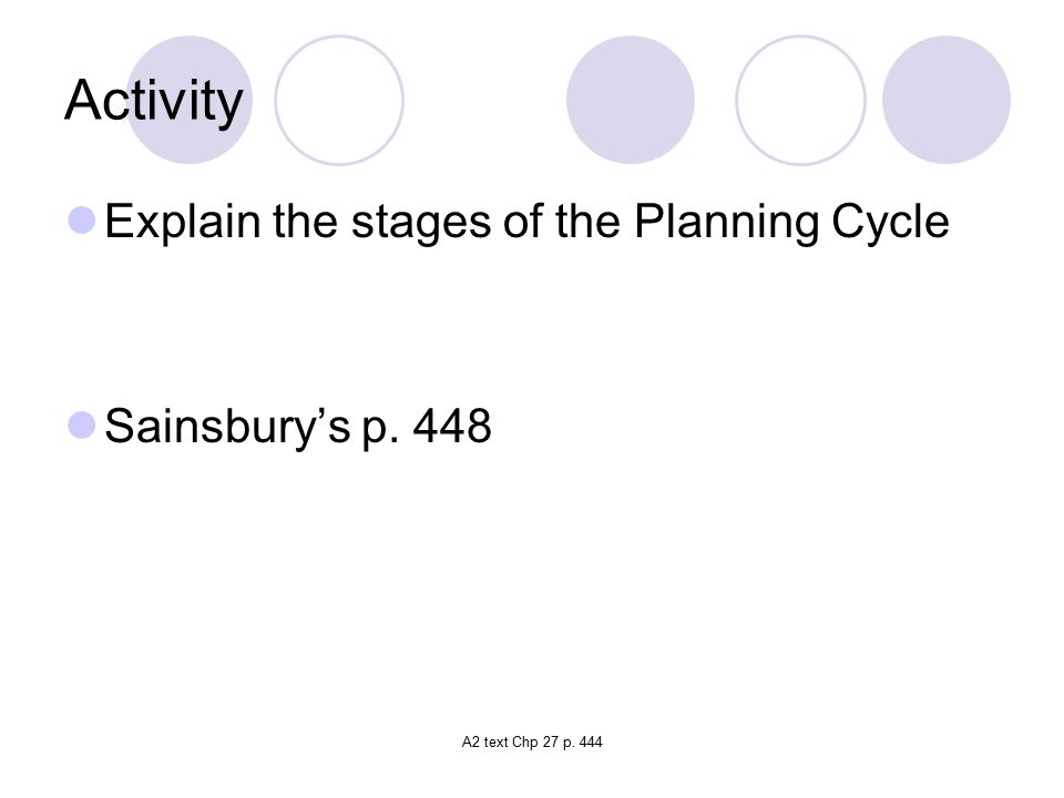 Activity Explain the stages of the Planning Cycle Sainsbury's p. 448