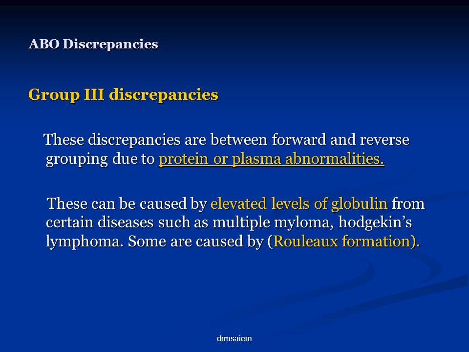 Group III discrepancies