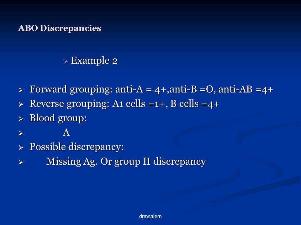 Forward grouping: anti-A = 4+,anti-B =O, anti-AB =4+