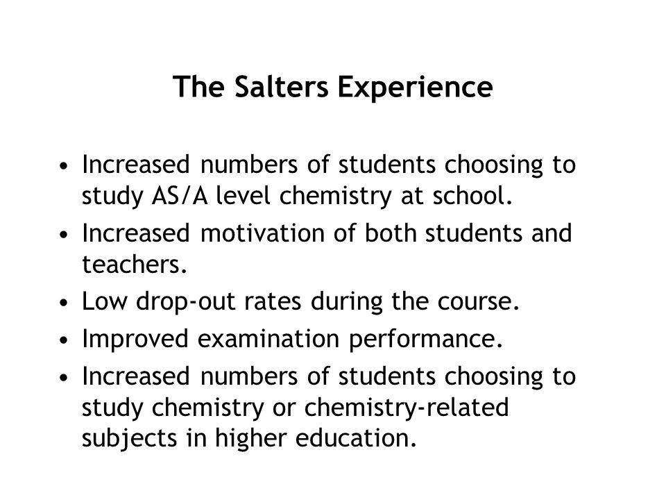 The Salters Experience