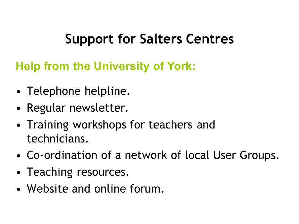 Support for Salters Centres