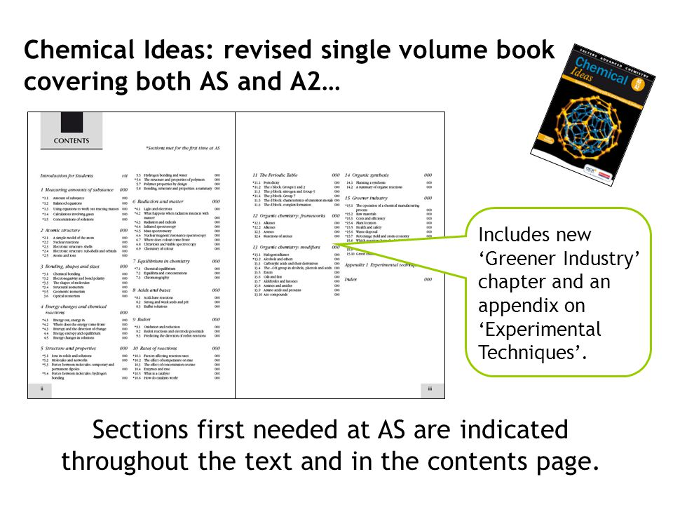 Chemical Ideas: revised single volume book covering both AS and A2…