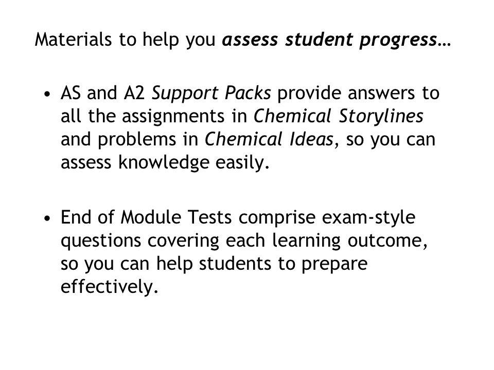 Materials to help you assess student progress…