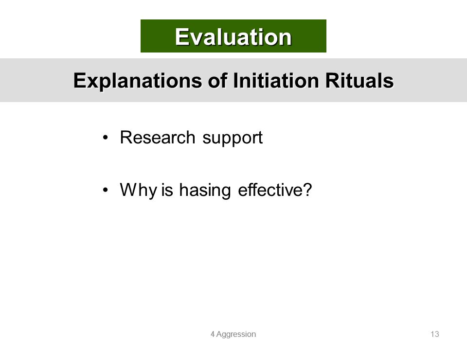 Explanations of Initiation Rituals