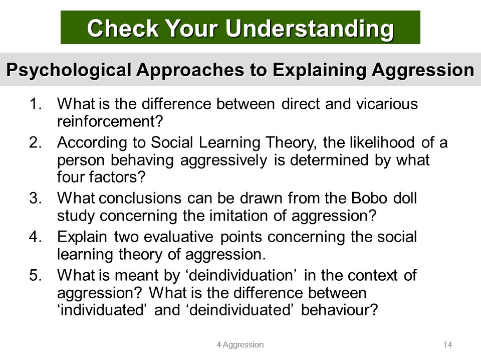 Psychological Approaches to Explaining Aggression