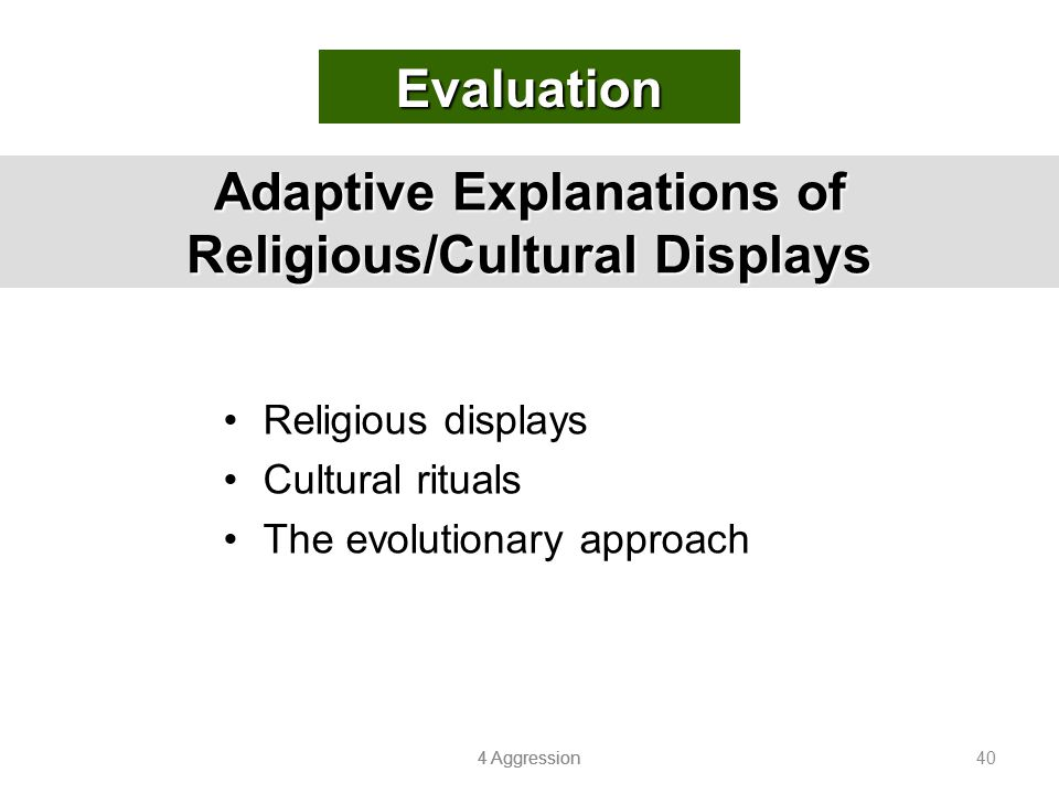 Adaptive Explanations of Religious/Cultural Displays