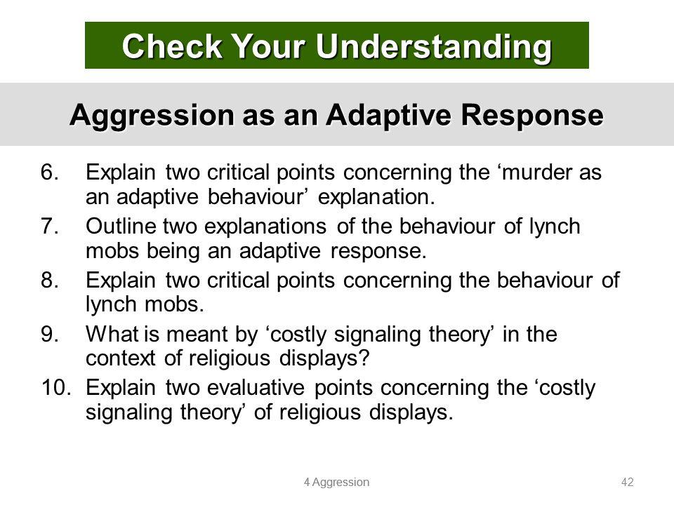 Aggression as an Adaptive Response