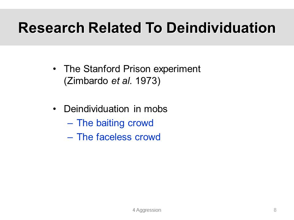 Research Related To Deindividuation