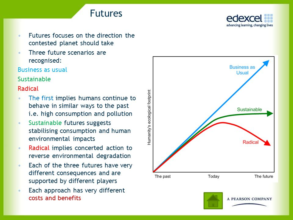 Futures Futures focuses on the direction the contested planet should take. Three future scenarios are recognised: