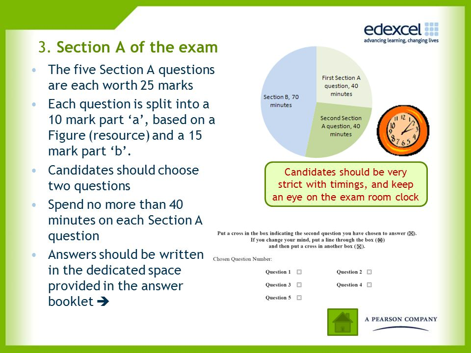 3. Section A of the exam The five Section A questions are each worth 25 marks.