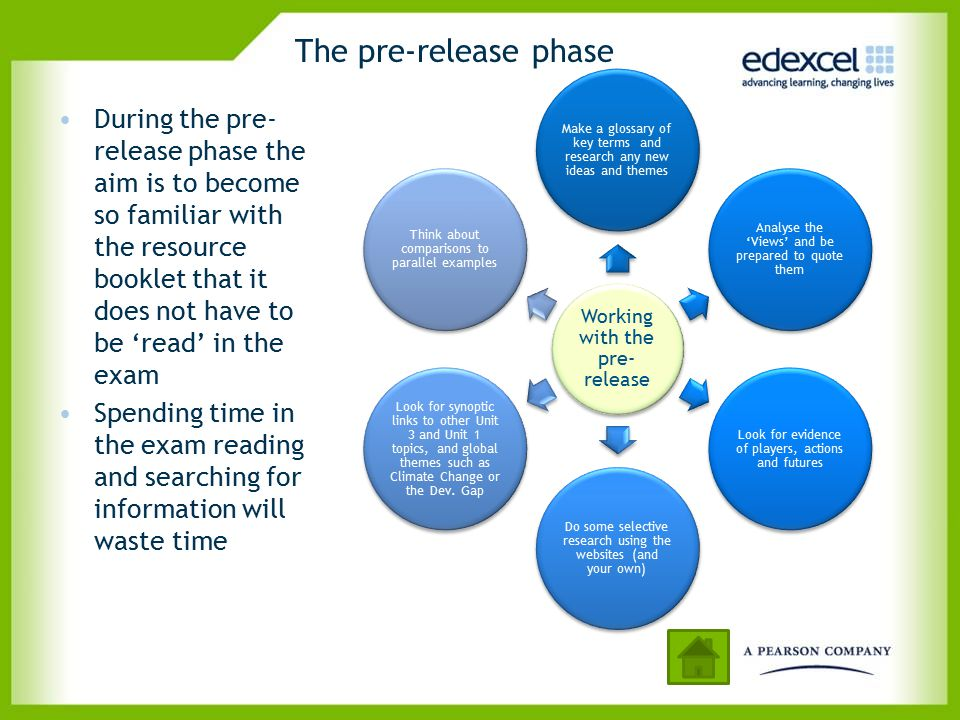 The pre-release phase Working with the pre-release. Make a glossary of key terms and research any new ideas and themes.