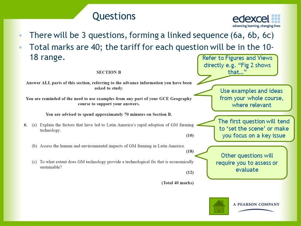 Questions There will be 3 questions, forming a linked sequence (6a, 6b, 6c)