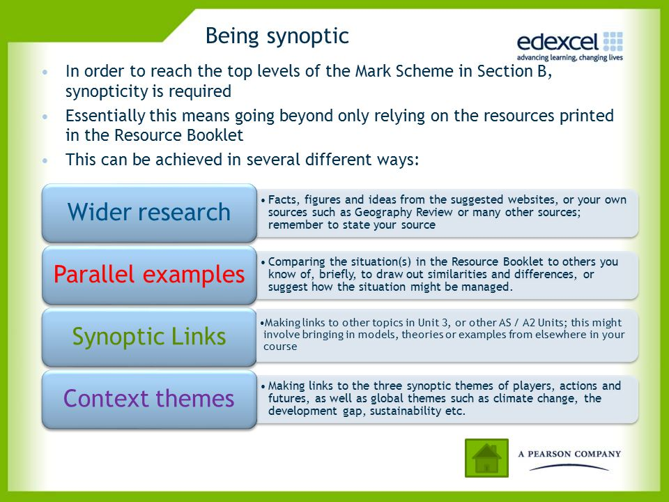 Being synoptic In order to reach the top levels of the Mark Scheme in Section B, synopticity is required.