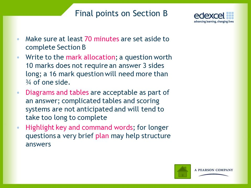 Final points on Section B