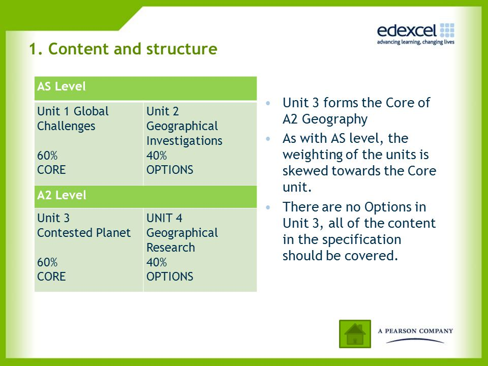 1. Content and structure Unit 3 forms the Core of A2 Geography