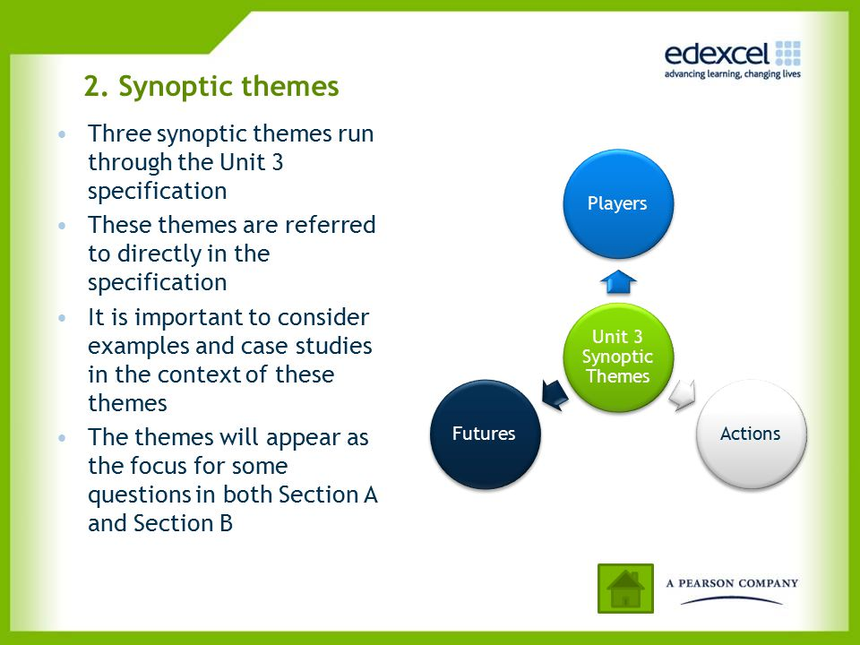 2. Synoptic themes Three synoptic themes run through the Unit 3 specification. These themes are referred to directly in the specification.