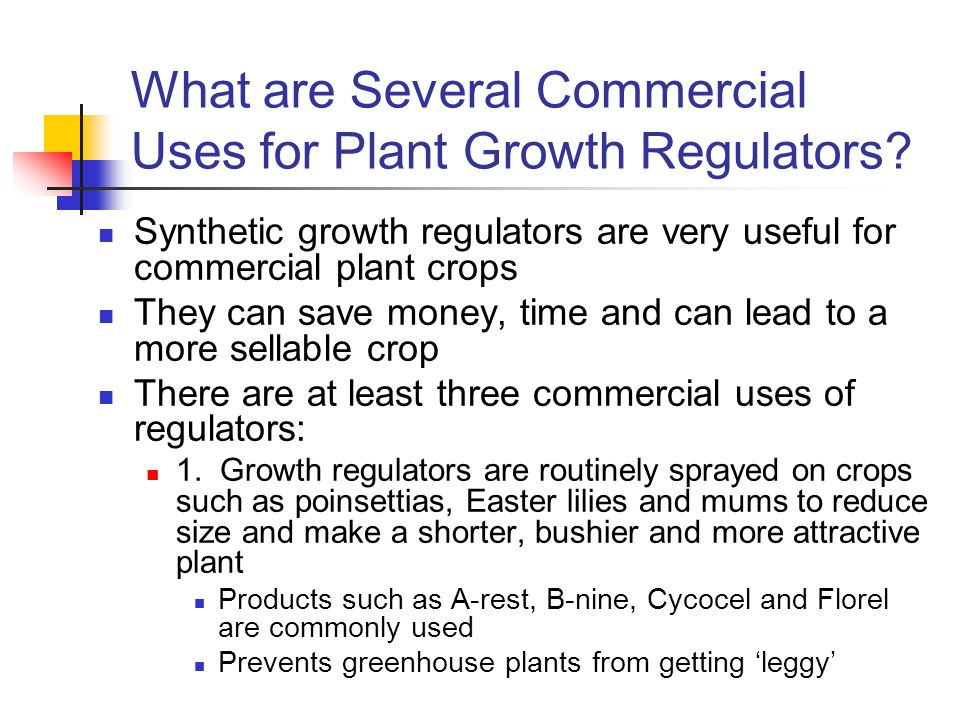 What are Several Commercial Uses for Plant Growth Regulators