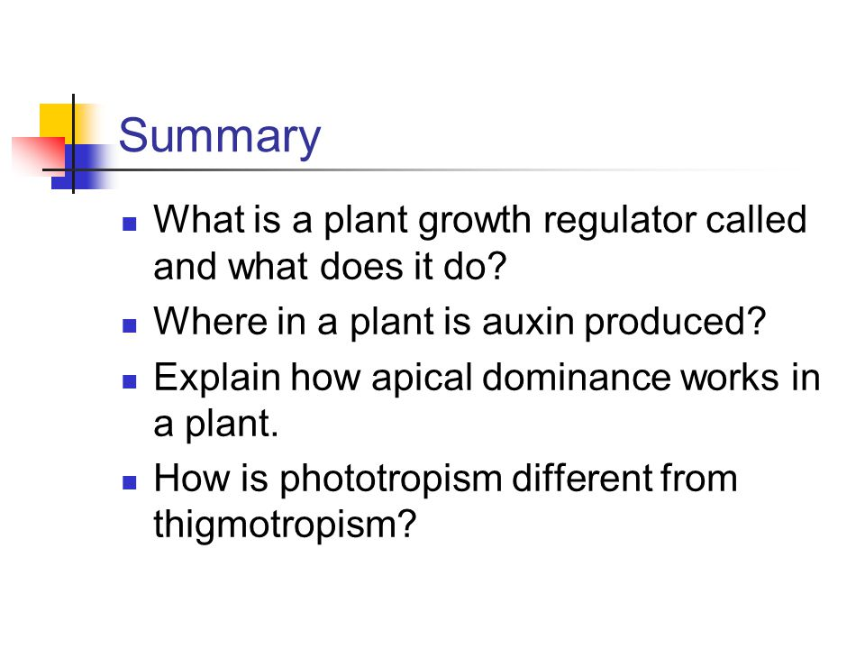 Summary What is a plant growth regulator called and what does it do