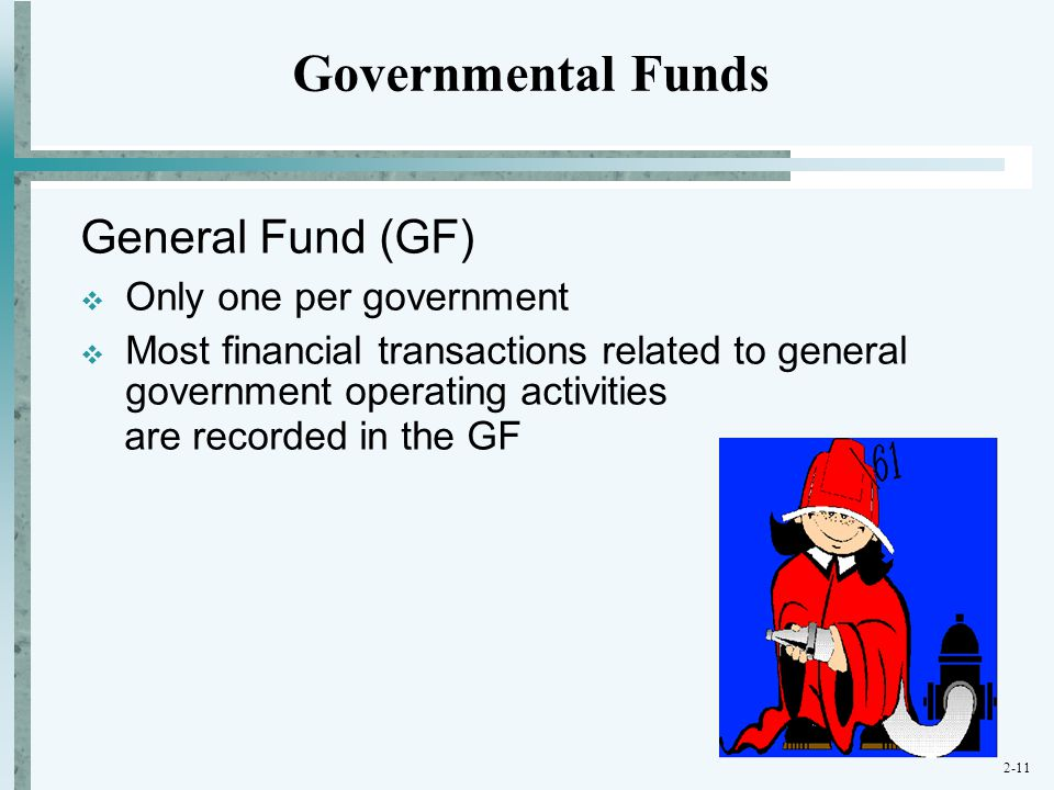 Governmental Funds General Fund (GF) Only one per government