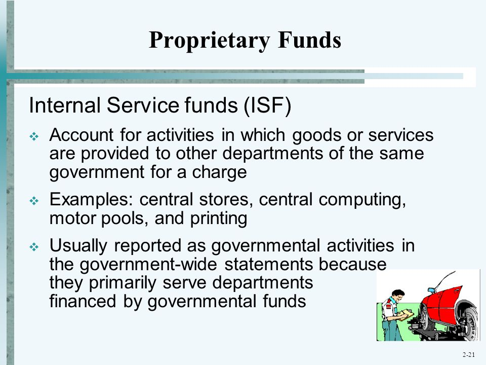 Proprietary Funds Internal Service funds (ISF)