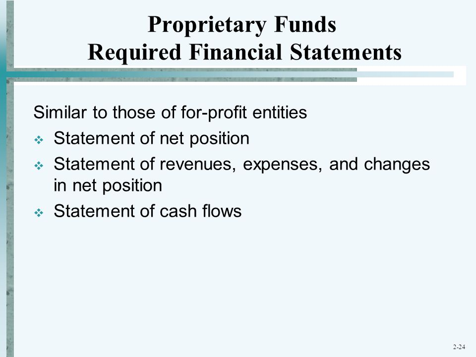 Proprietary Funds Required Financial Statements