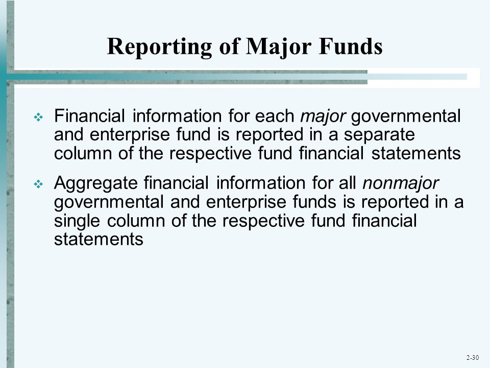 Reporting of Major Funds