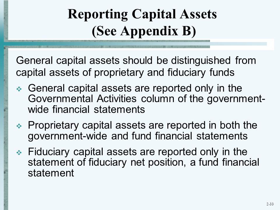 Reporting Capital Assets (See Appendix B)
