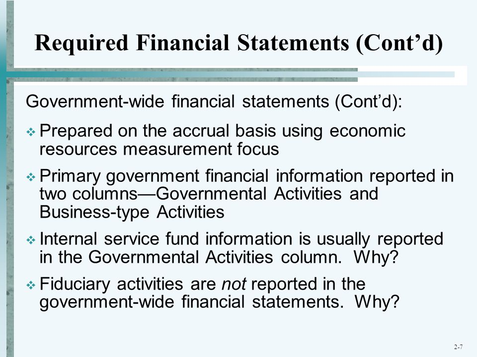 Required Financial Statements (Cont'd)