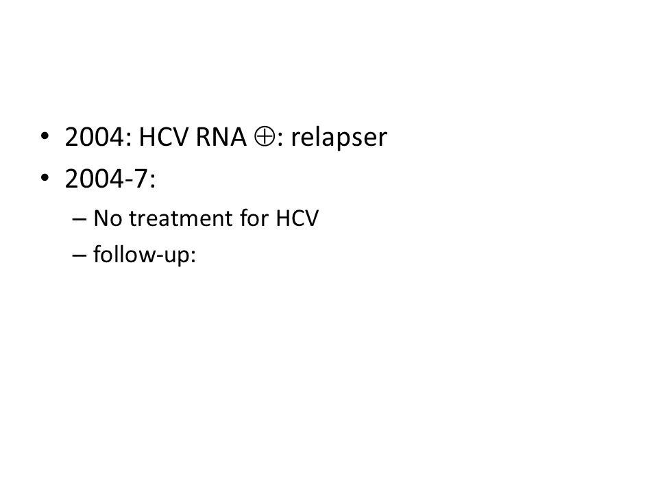 2004: HCV RNA : relapser 2004-7: No treatment for HCV follow-up: