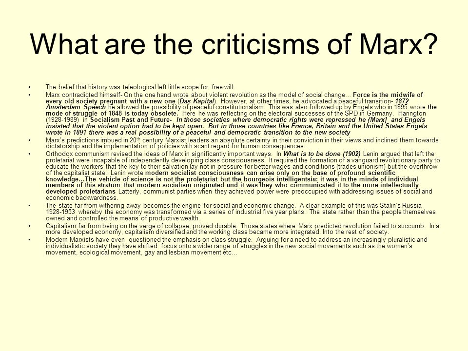 What are the criticisms of Marx