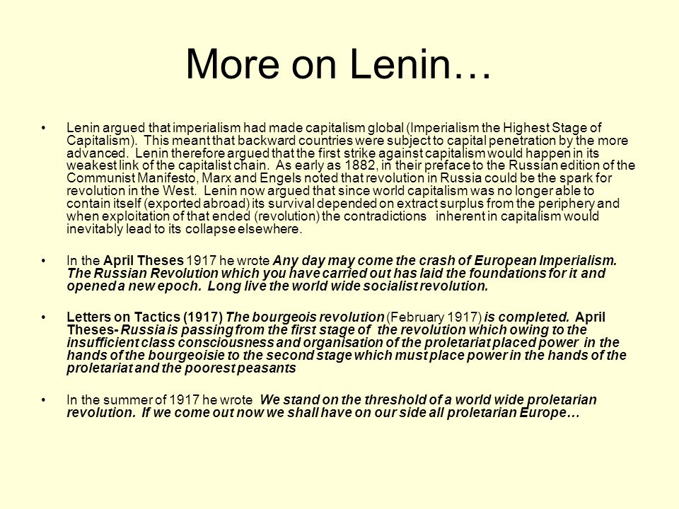 More on Lenin…