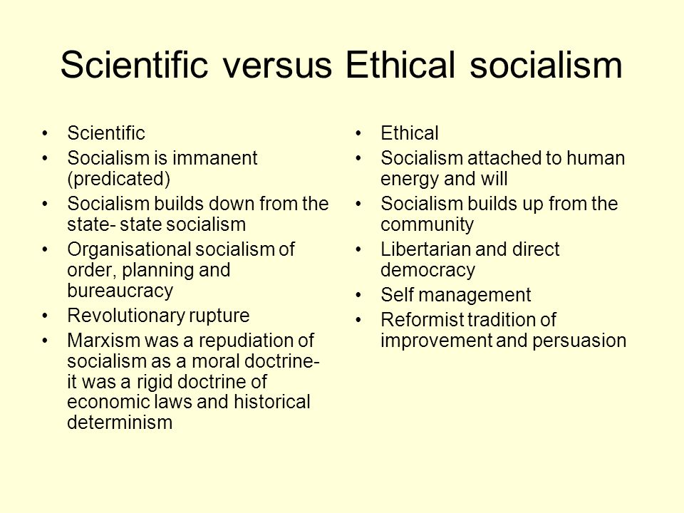 Scientific versus Ethical socialism