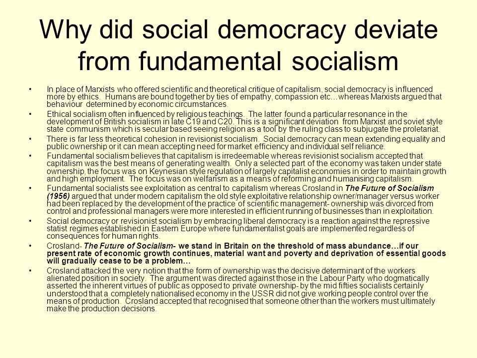 Why did social democracy deviate from fundamental socialism
