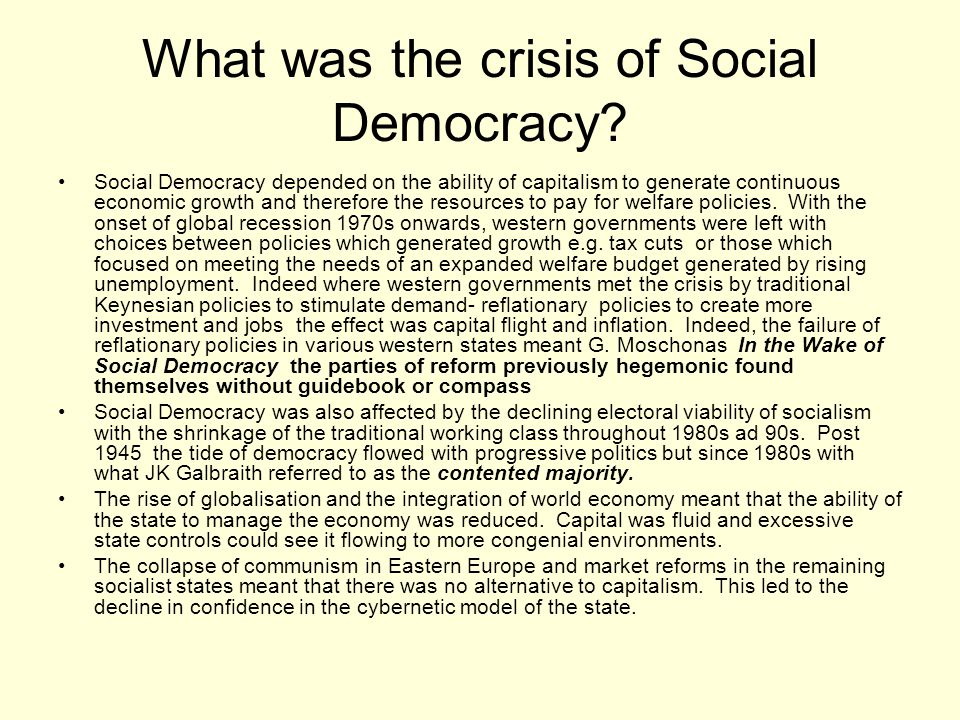 What was the crisis of Social Democracy
