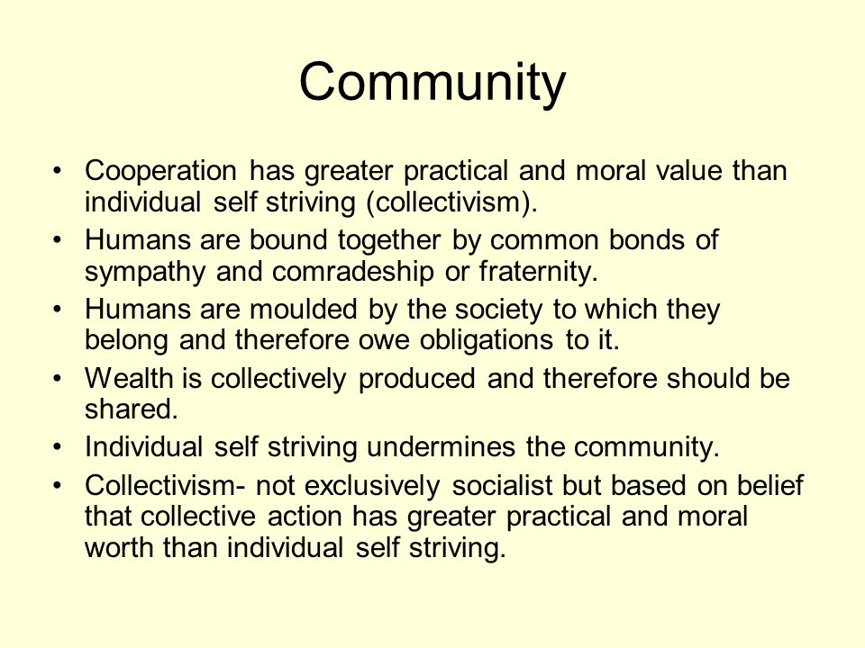 Community Cooperation has greater practical and moral value than individual self striving (collectivism).