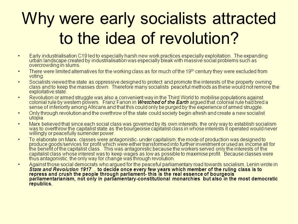 Why were early socialists attracted to the idea of revolution
