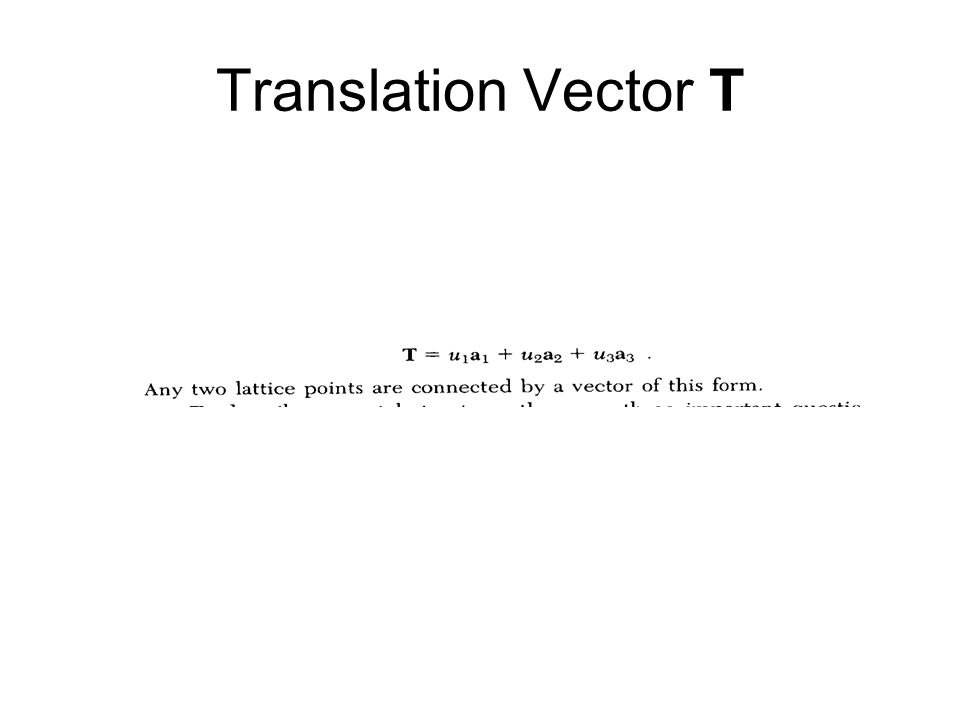 Translation Vector T