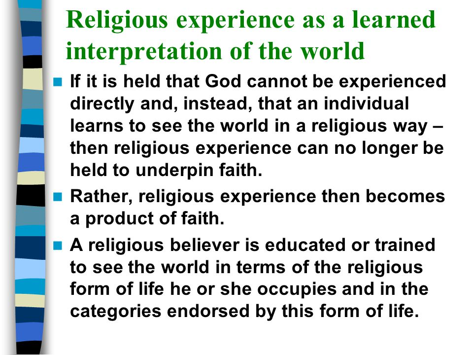 Religious experience as a learned interpretation of the world