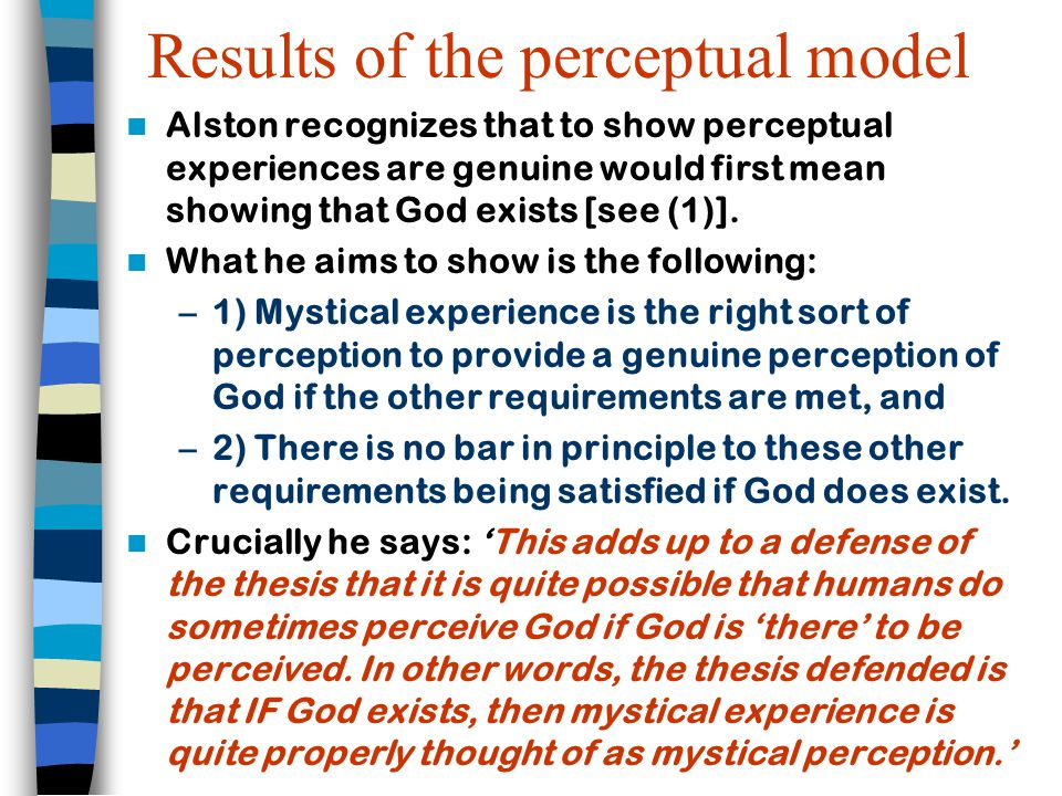 Results of the perceptual model