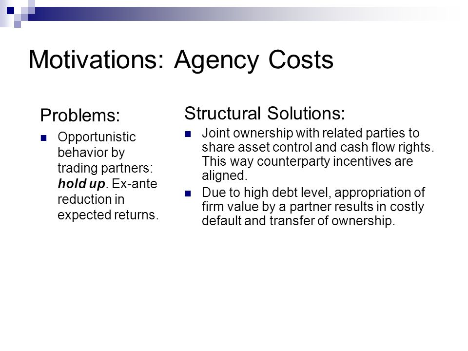 Motivations: Agency Costs
