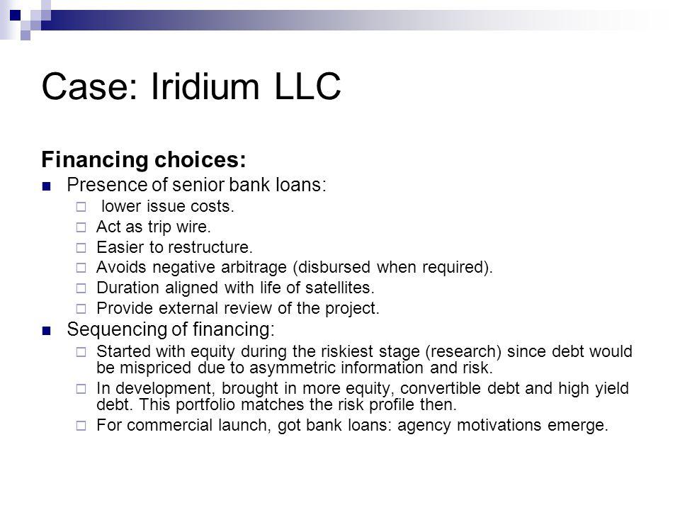 Case: Iridium LLC Financing choices: Presence of senior bank loans: