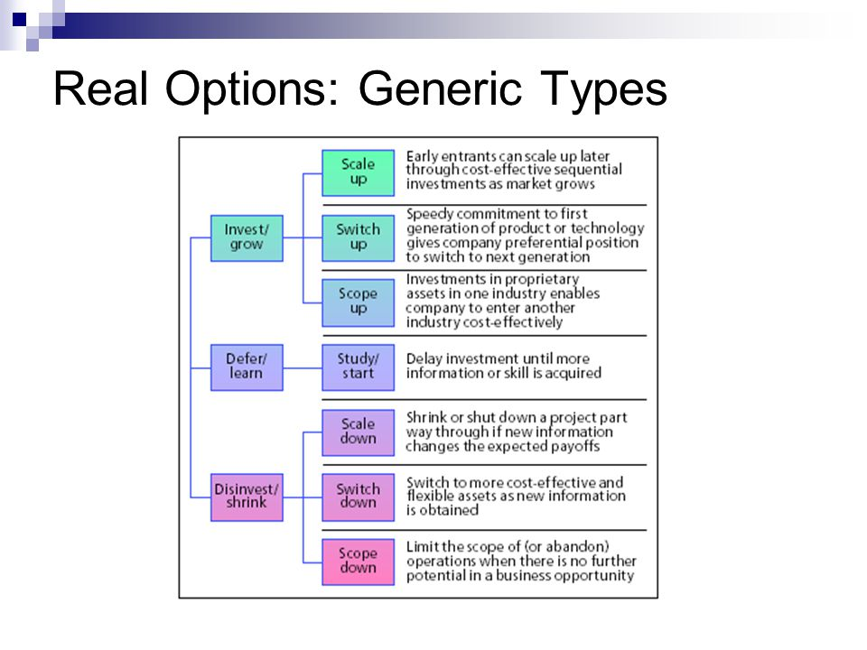 Real Options: Generic Types